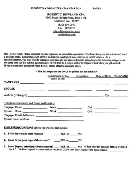 robert  rowland cpa  tax letter  tax organizer