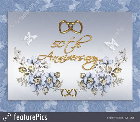 50Th Wedding Anniversary Card Illustration