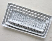 Small Herringbone Nesting Tray in Black and White - Made to Order