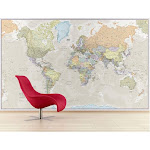Giant World Wall Map Mural (antique)