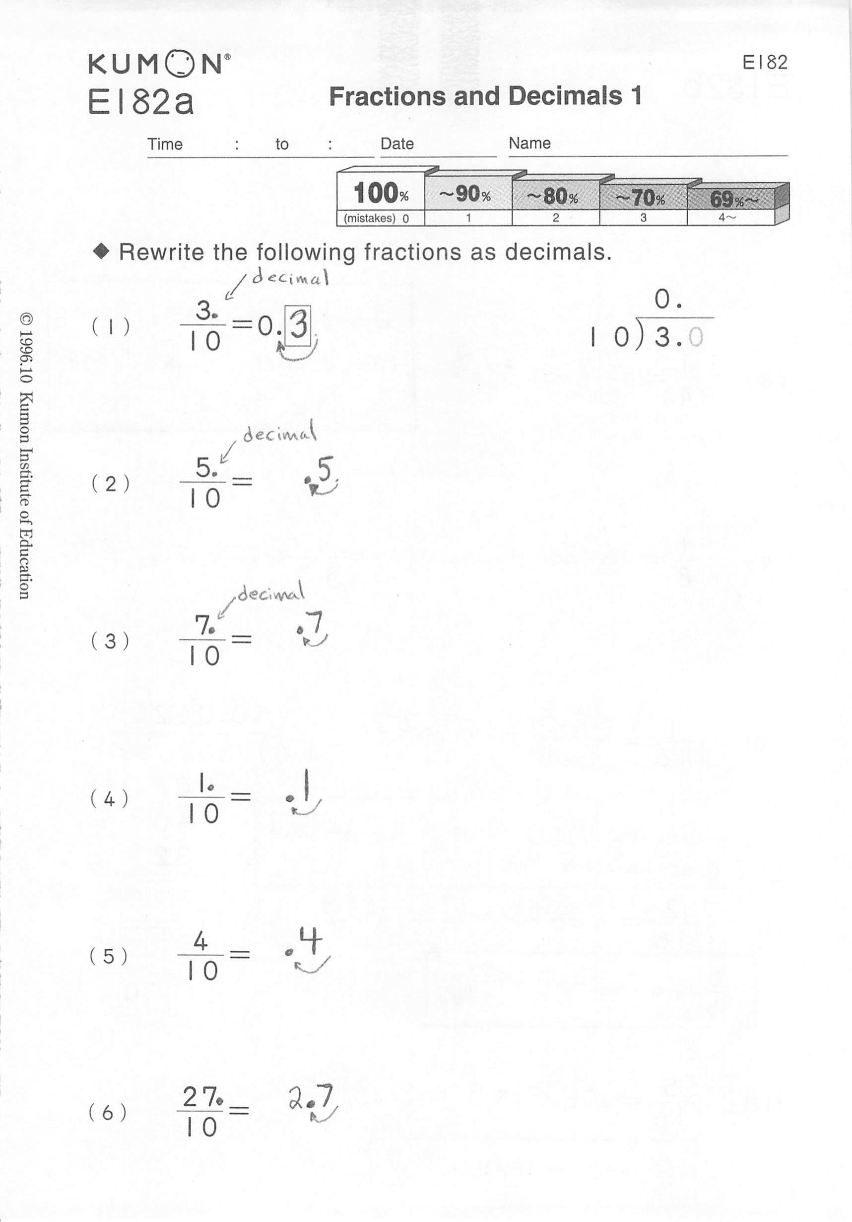e level answer kumon book