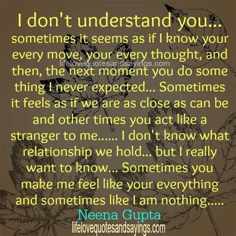 You Never Understand My Love Quotes