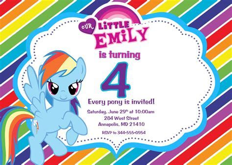 My Little Pony Personalized Birthday Invitations