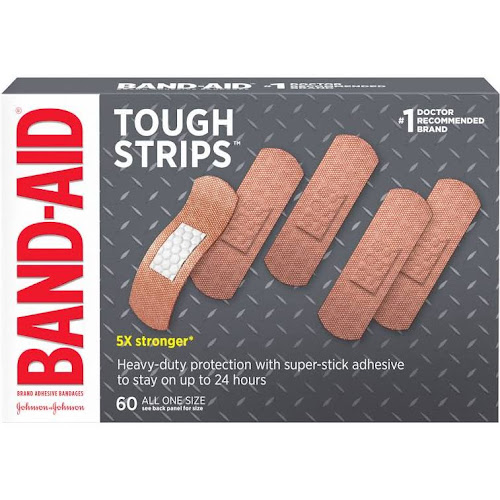 Band-Aid Brand Adhesive Bandages, Tough Strips, 60 Ct.