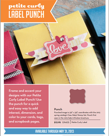 stampin up, dostamping, dawn olchefske, demonstrator, petite curly label punch, 2013/2014 Annual Catalog