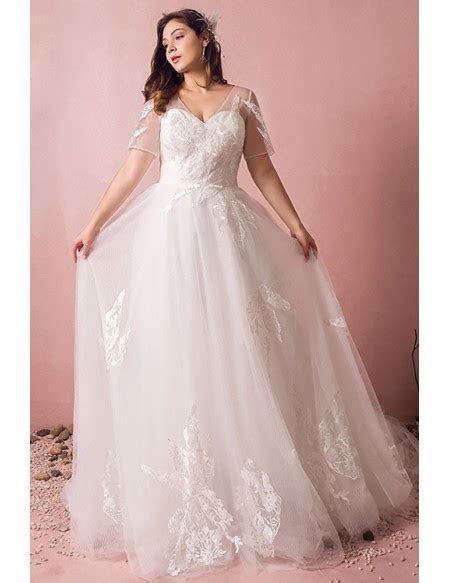 Plus Size Boho Beach Wedding Dress Flowy Lace With Sleeves