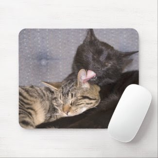 Brotherly Love, mousepad, cats, cute, preening, computer accessory, feline, pet