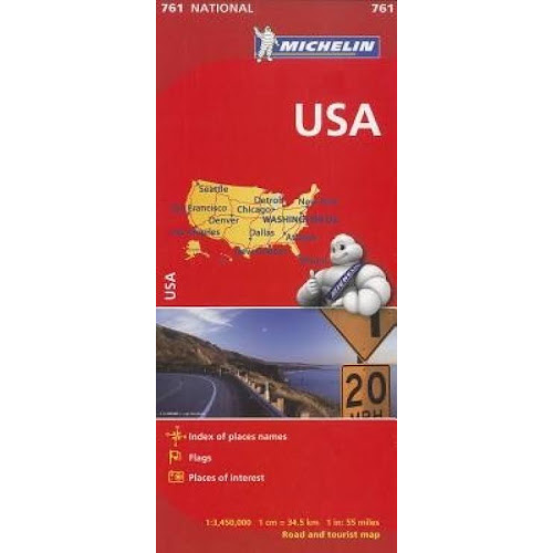USA: Index of Place Names, Flags, Places of Interest, Road and Tourist Map [Book]