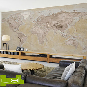 Buy 1Wall Neutral Map Giant Wallpaper Mural at Home Bargains