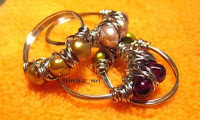 Wire wrapped Chaos Rings with pearls