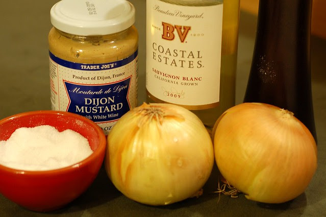 White wine, onions, Dijon mustard, salt, and pepper by Eve Fox, Garden of Eating blog, copyright 2013
