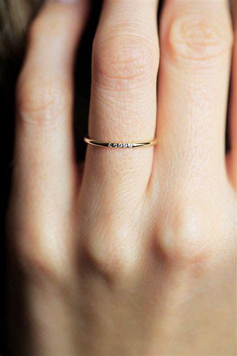 Thin Diamond Wedding Ring, Diamond Wedding Band, Simple