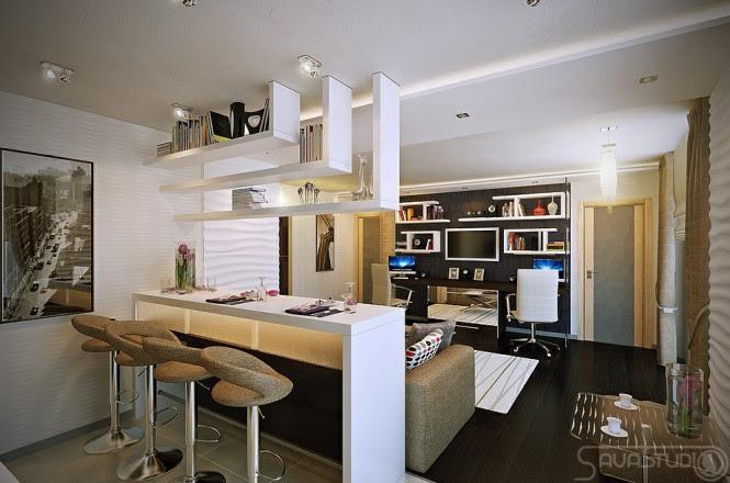 White open plan kitchen lounge