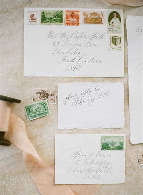 Vintage Stamps on Wedding Invitations   Elizabeth Anne