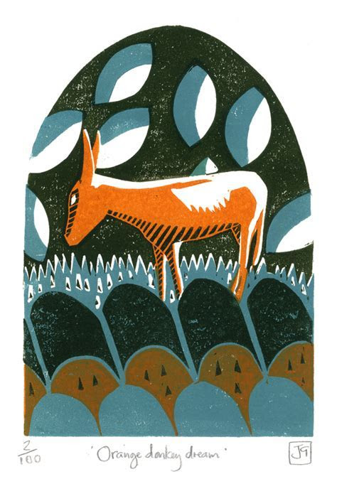 Orange Donkey Dream three colour linocut print   Folksy