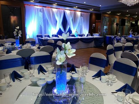 Royal blue decoration, blue and white backdrop