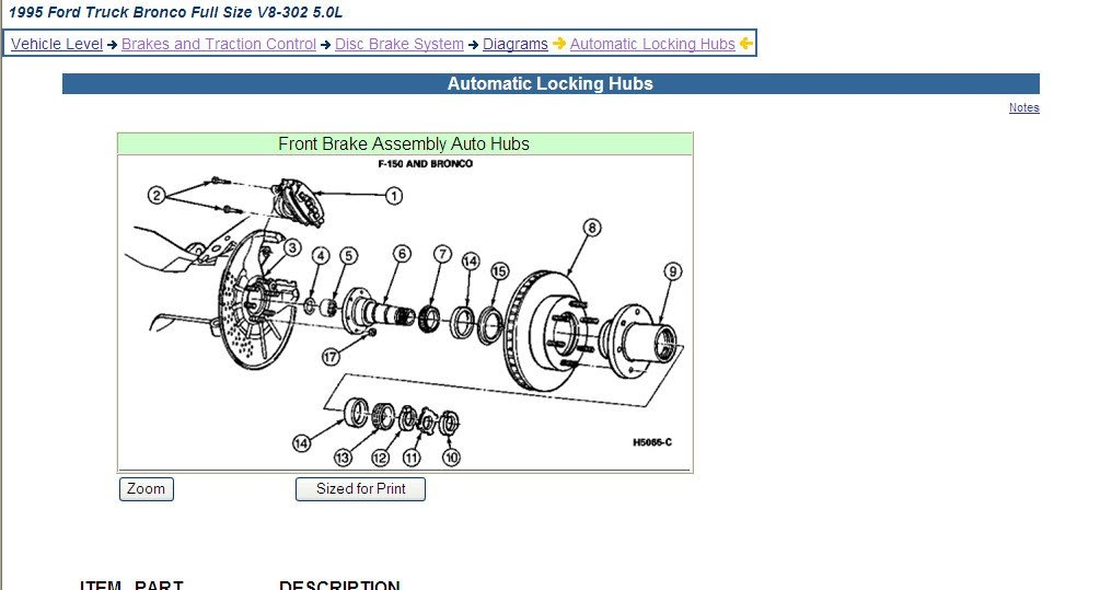 Ford Auto Locking Hubs Diagram