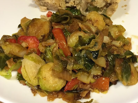 Brussels Sprouts with Bacon, Mushrooms and Red Bell Pepper
