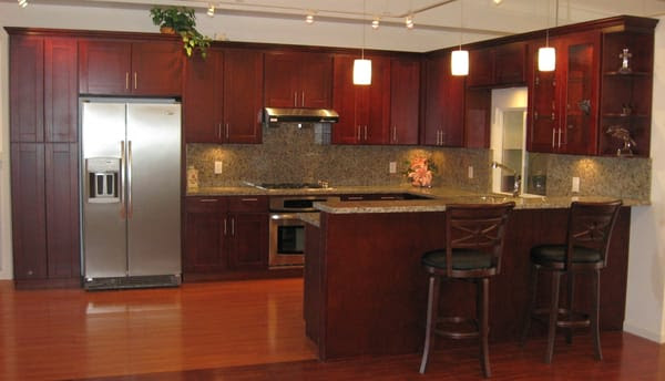 American Cherry Shaker Style Cabinets with Butterfly Yellow ...