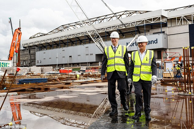 Mark Waller (left) joins Daniel Levy at the site of Spurs' new ground which will open in two years' time