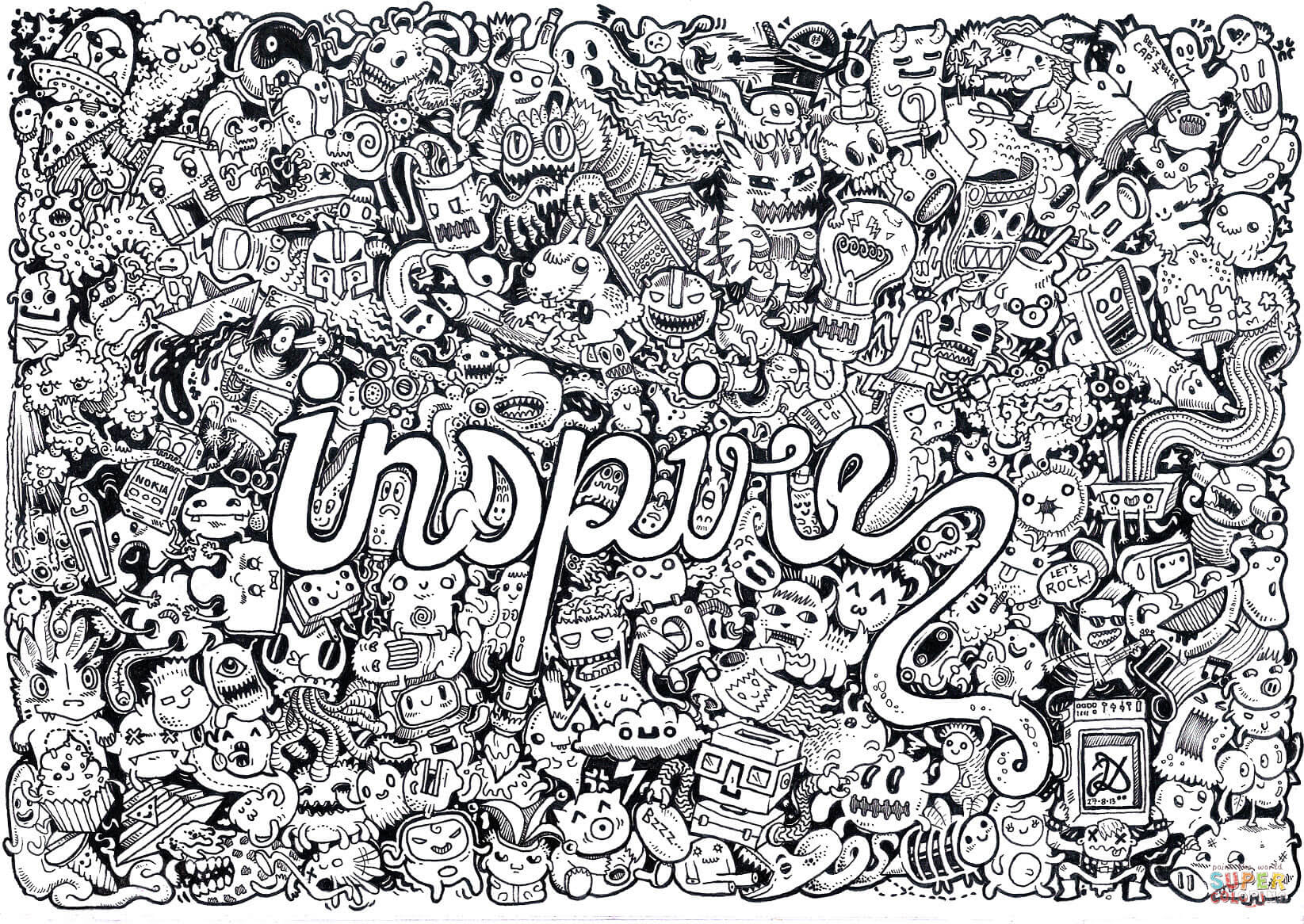 inspire doodle coloring page
