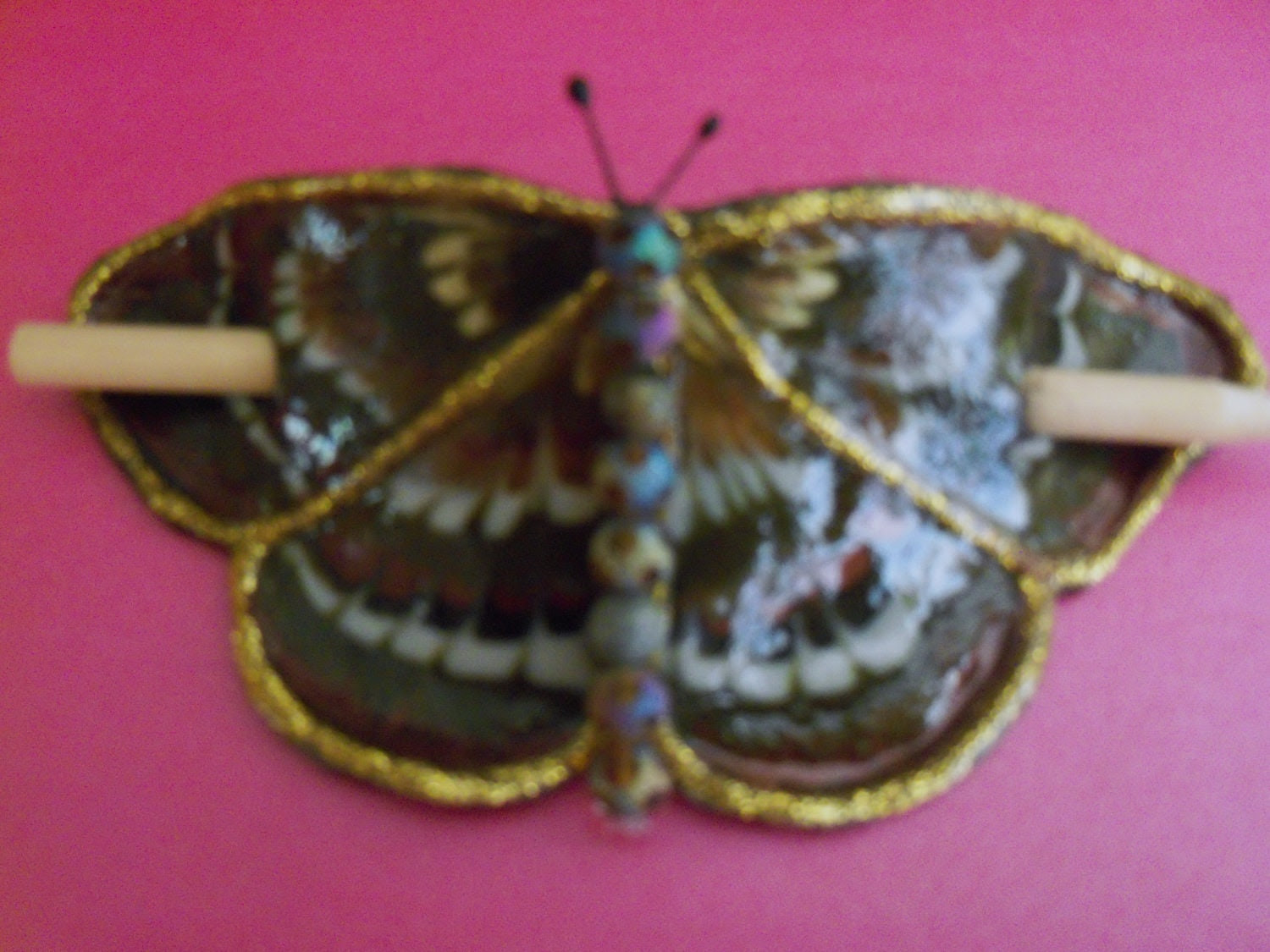 Brown and White Celtic butterfly Barrette