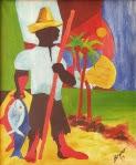 """""""Pescador"""". Óleo/tela, 72x60 cm, 1974, João Pessoa-Pb (Primeira pintura a óleo/tela). Coleção: Bruna e Daniel Chaves Steinbach Silva, JPPb. Catálogo1."""