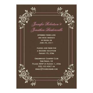 Vintage Brown Ivory Pink Swirls Post Wedding