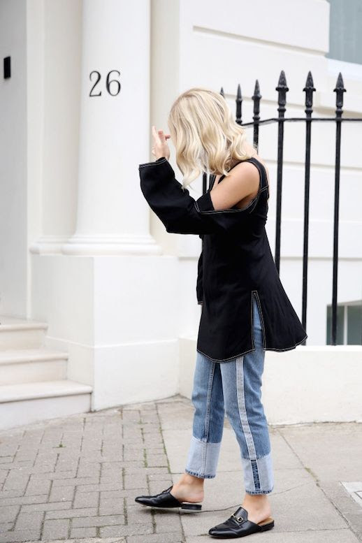 Le Fashion Blog Off The Shoulder Black Blouse Two Tone Cuffed Jeans Black Gucci Mule Slippers Via We The People Style