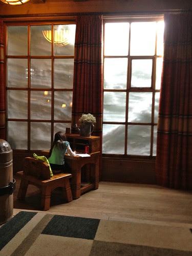 Louise doing homework @ Timberline Lodge.
