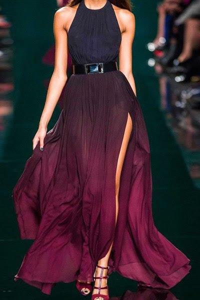 الرسن أومبير اللون السامية الشق فستان ماكسي