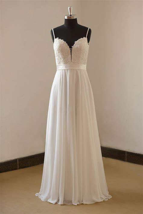 Vintage a line white evening dress with spaghetti straps