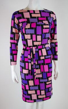 Vintage 1970s Emilio Pucci Dress with Blocks Print Size 8 10 | eBay