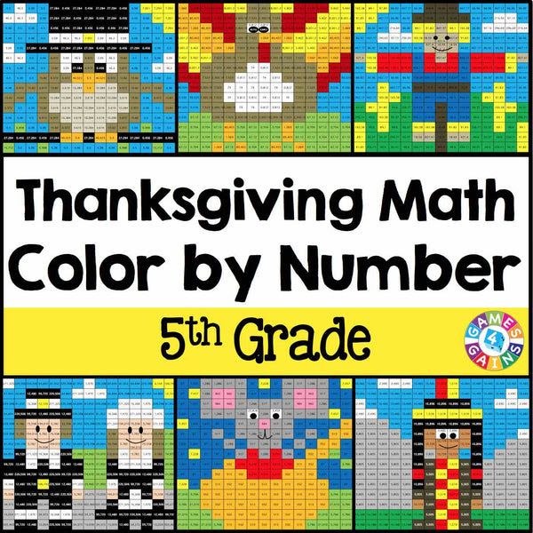 Thanksgiving Math Color By Number 5th Grade Games 4 Gains