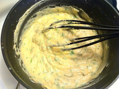 Whisking in Chives and Parsley