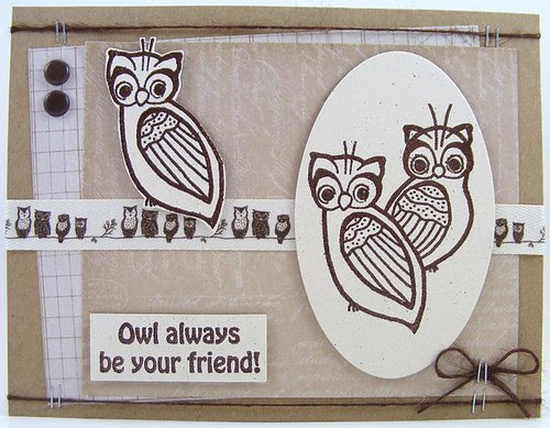 Magenta Owl Friends Card