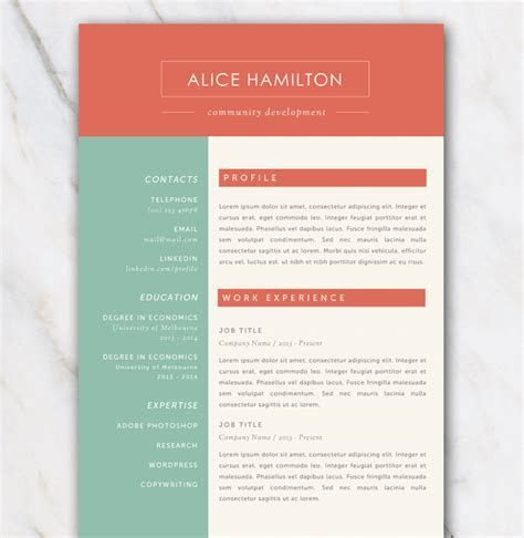 Resume template with gree, red and off white color palette