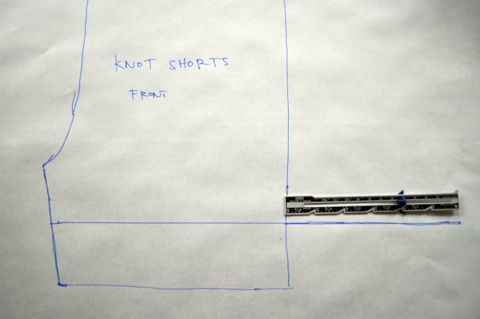 making the pattern for knot shorts