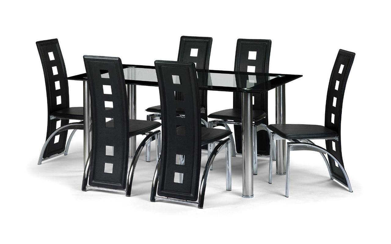 Black Glass Dining Room Table Set and with 4,6 or 8 Faux Leather Chairs Chrome