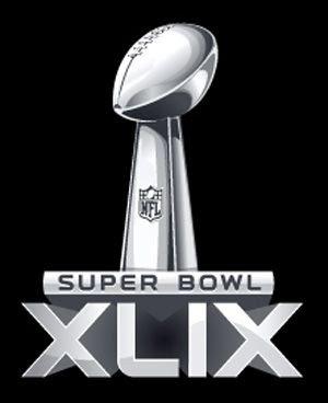 The logo for Super Bowl XLIX.