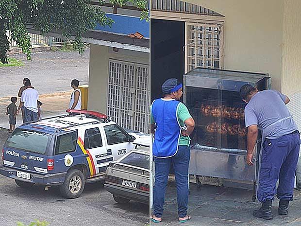 Policial militar ainda com parte da farda prepara frango em máquina de assar no Lúcio Costa; à direita, carro da PM com que ele chegou ao local (Foto: VC no G1/Divulgação)