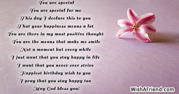 You Are Special Happy Birthday Poem