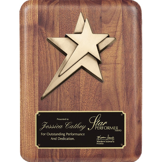 Star Casting Mounted to Walnut Plaque