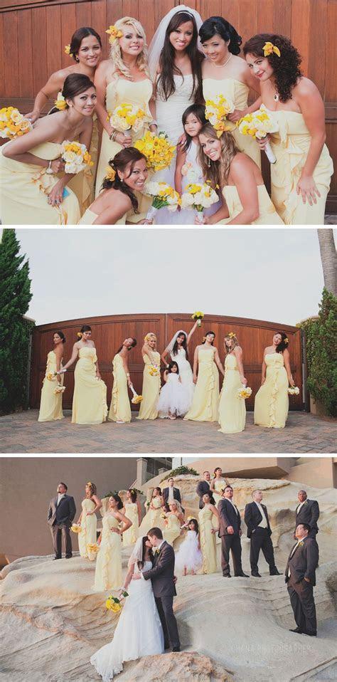 yellow bridesmaid dresses. wedding at surf and sand resort