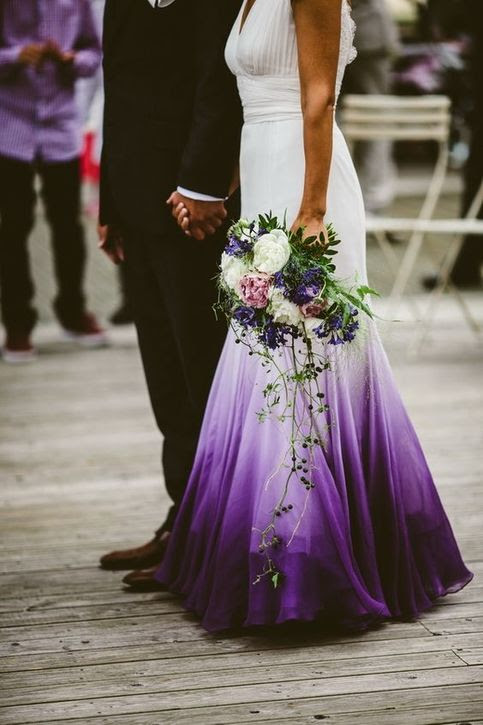omber mermaid chiffon purple beach wedding dresses ruched