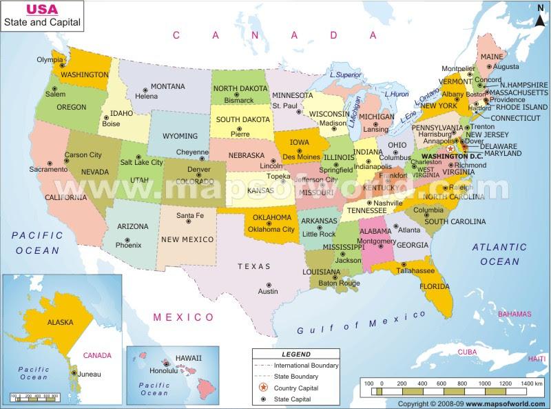 Maps Usa Map Capitals - Us map capitals