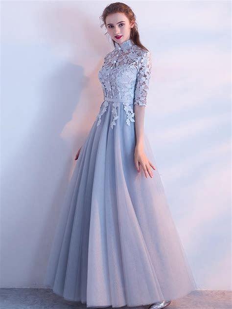 A line High Neck Floor length Half sleeve Tulle Prom Dress