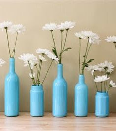DIY Painted Bottle Vases.