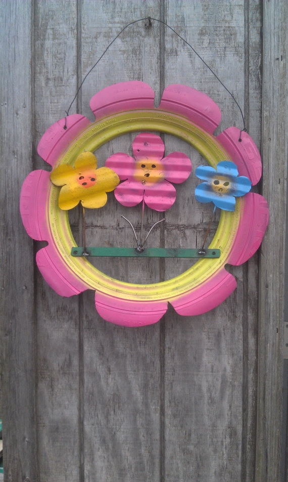 Recycled Tire Flower Group Made in the USA by JunkFX by Junkfx, $30.00