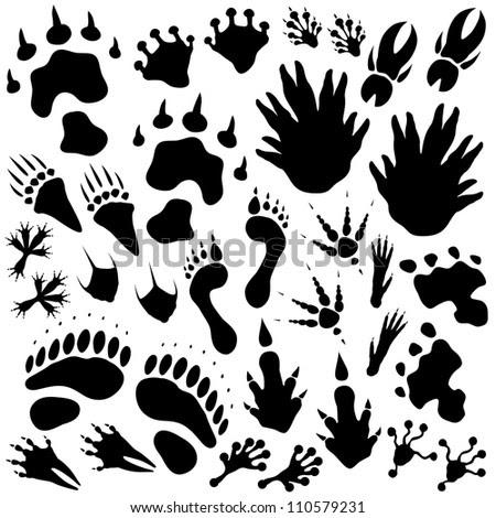 Set Editable Vector Monster Alien Footprints Stock Vector ...
